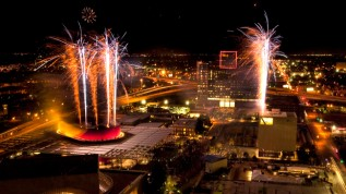 Fireworks at the grand opening of the center in 2009