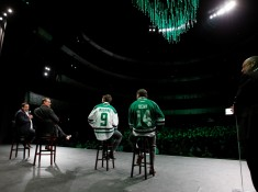 Jamie Benn and Mike Modano on Skokos Stage for the Dallas Stars event at the Winspear Opera House