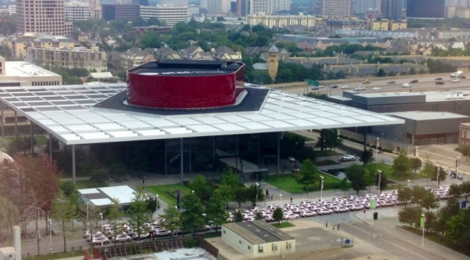 Pink Cadillacs in front of Winspear Opera House
