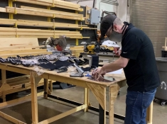 Weston Keifer, Technical Director, making face shields